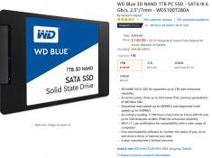 WD Blue 3D NAND 1TB PC SSD $149.99 + $5.32 직배