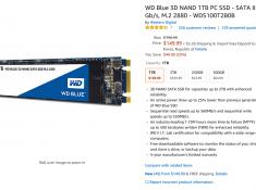 WD Blue 3D NAND 1TB PC SSD M.2 $149.99 + $5.26 직배