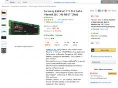 Samsung 860 EVO 1TB M.2 SATA SSD $127.99 (MZ-N6E1T0BW)