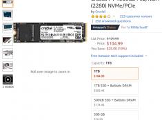 Crucial P1 1000GB M.2/NGFF (2280) NVMe/PCIe